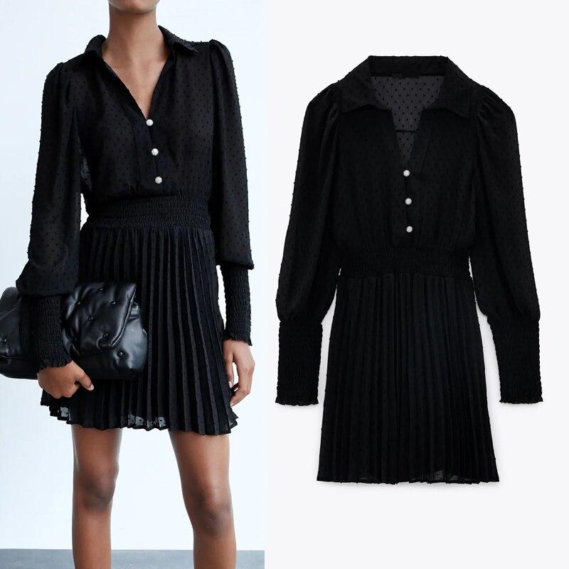 Preto tule plumetis plumetis mini vestido feminino 2020 za manga comprida com decote em v malha vestido curto mulher moda elegante vestidos de senhoras