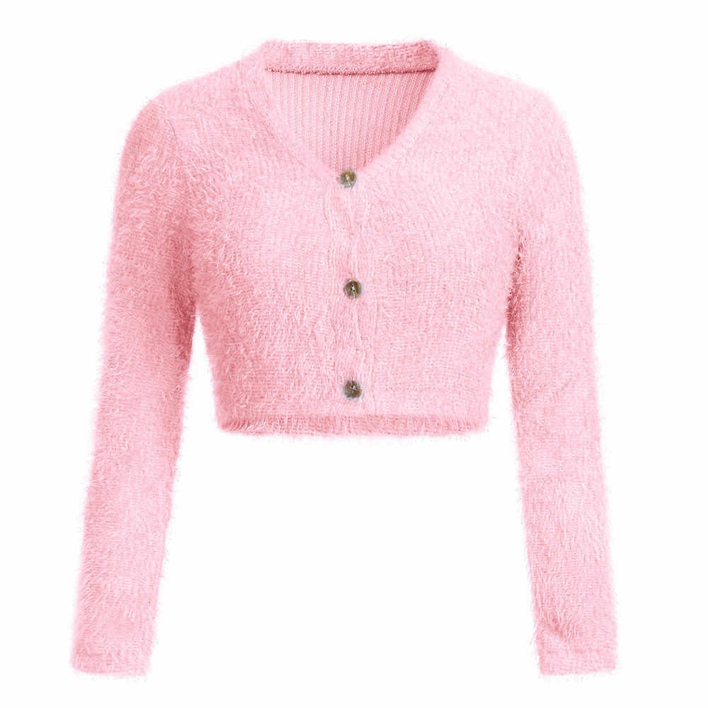 모피 핑크 스웨터 여성 패션 v 넥 긴 소매 캐주얼 버튼 자르기 kardigan 2019 가을 겨울 인기 여성 카디건