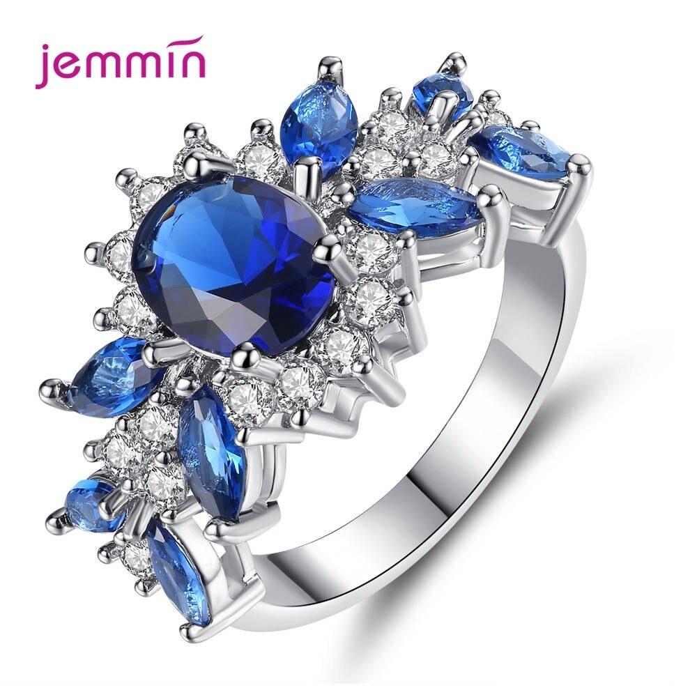 Princess Blue Gemstone Sapphire Rings Wedding Engagement 925 Sterling Silver Finger Ring For Women Anillos Bijoux Bague Femme