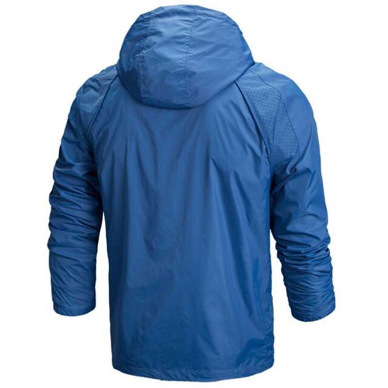 スポーツジャケットメンズカジュアル春秋のウインドブレーカーランニングジャケット 4XL 男性屋外フード付き日焼け通気性スポーツ服