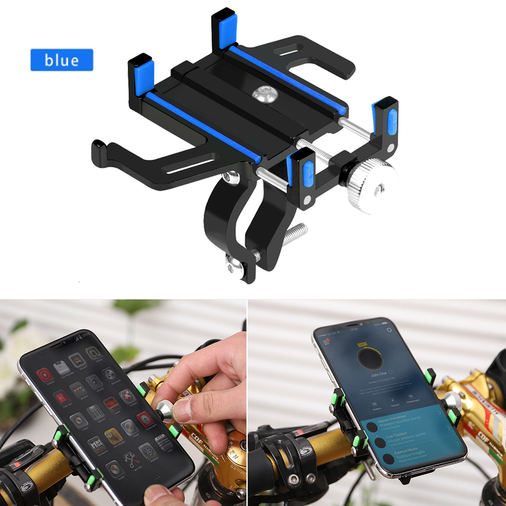 New Aluminum Bike Phone Holder Bicycle Phone Mount Holder Stand Anti Slip Motorcycle Handlebar Clip for Smartphones