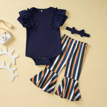 2020 Fashion Baby Girls Sets 3Pcs Summer Girl Clothes Ruffles Sleeve Romper Striped Flared Pants Headband Baby Girl Outfits 0-2Y(China)