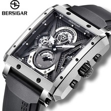 Rectangular Mens Watch BERSIGAR Chronograp Watches for Men Barrel Type Quartz Fashion Luxury Sports Waterproof Silicone Strap