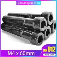 M4x60 Screw 25pcs Black Grade 12.9 Alloy Steel Blackening Hex Socket Head Cap Screw 0.7mm pitch ( M4x60mm m4 60mm m4 60 )