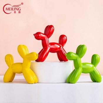 Handmade Balloon Dog Statues Yellow Green Red Glaze Ceramic Animal Figurine Big Wedding Gift Nordic Home Shelf Living Room Decor