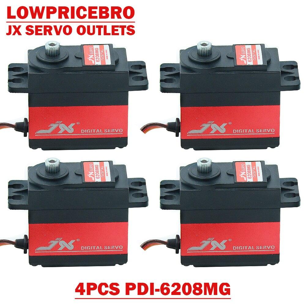 4 pces jx pdi 6208mg 8kg 0 07 seg de alta velocidade metal engrenagem servo padrao