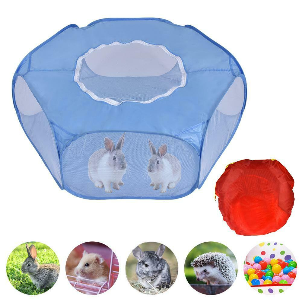 Pet Puppy Rabbit Playpen Fence Indoor Outdoor Small Animal Hamsters Cage Tent Folding Portable Kennel With Zipper Cover