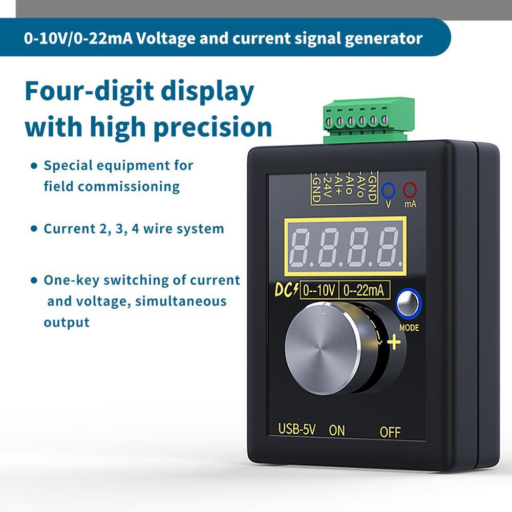 Аналоговый 0-5 в 0-10 В 4-20мА генератор сигналов с перезаряжаемой батареей Карманный регулируемый ток напряжения симулятор калибратор
