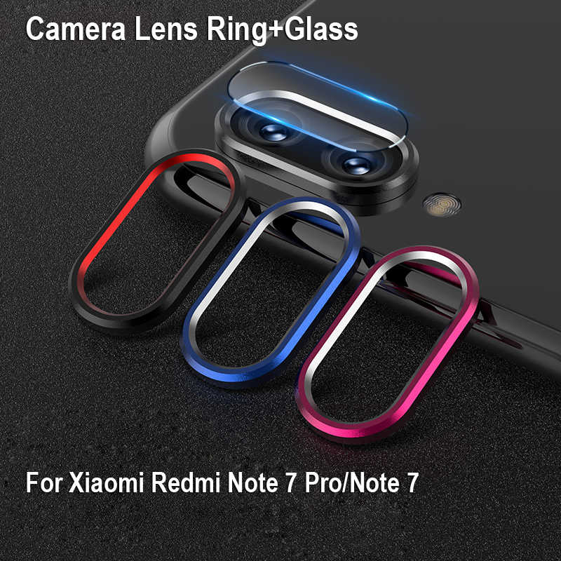 For Xiaomi RedMi Note 7 Metal Rear Lens Protection Ring Case+Camera Lens Tempered Glass for Redmi Note7 Pro Screen Protector