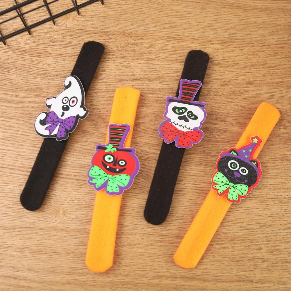 Halloween Pumpkin Bat Ghost Pat Ring Luminous Wristband Lighted Buckle Slap Bracelet