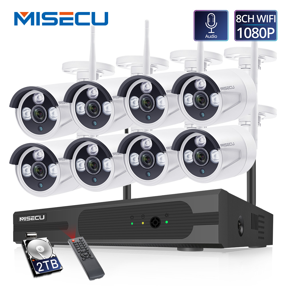MISECU H.265 8CH 1080P Wireless NVR Kit 2MP Outdoor Security Audio Record Wifi IP Camera P2P Video CCTV Surveillance System Set