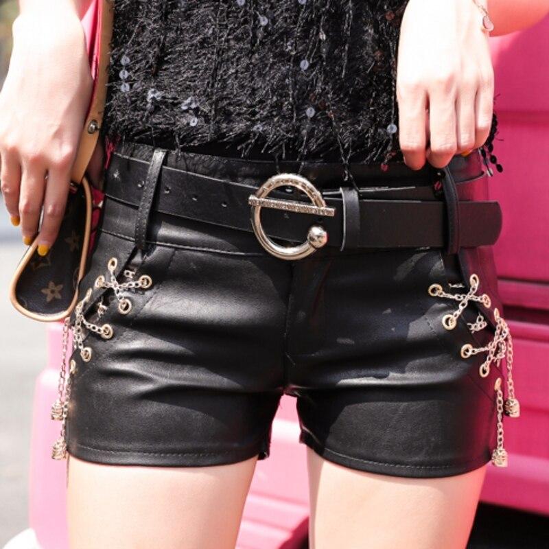 Low Waist Korean With Chain And Belt Zipper Shorts Women 2019 Autumn Winter Fashion PU Leather Mini Short Sexy Feminino B9N308