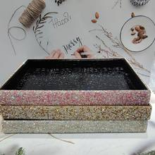 Rhinestone Cosmetic Containers PU Leather Storage Desk Sundries Organizer Tray Make Up Organizer Box Bling Table Decorative Box