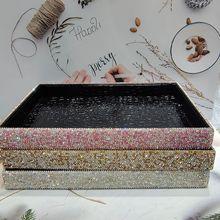 Box Storage-Tray Make-Up-Organizer Cosmetic-Containers Desk Rhinestone Sundries PU Bling-Table-Decorative-Bins