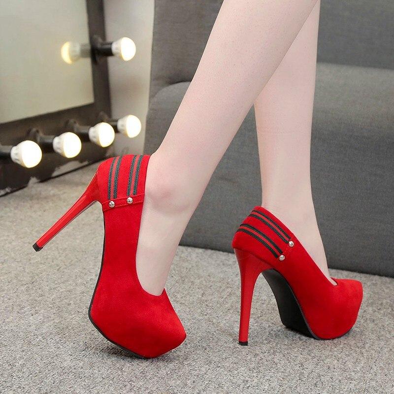 Ev ve Bahçe'ten Ayakkabı Rafları ve Organizatörleri'de Yüksek topuklu ayakkabılar 2019 bahar yeni stil Ultra yüksek topuk moda kadın ayakkabı İnce topuklu süet düşük kesim çok yönlü moda ayakkabılar title=