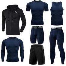6/7pcs Dry Fit Sport Set Men Running Sets Basketball Tight Clothing Fitness Jogging Tracksuit Compression Sportswear