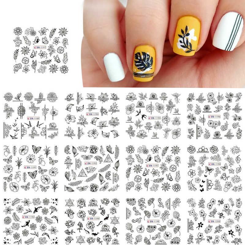 1 PC Air Decals Garis Bunga Daun Slider Transfer Nail Stiker Manicuring Nail Art Foil Pembungkus DIY Stiker Dekorasi