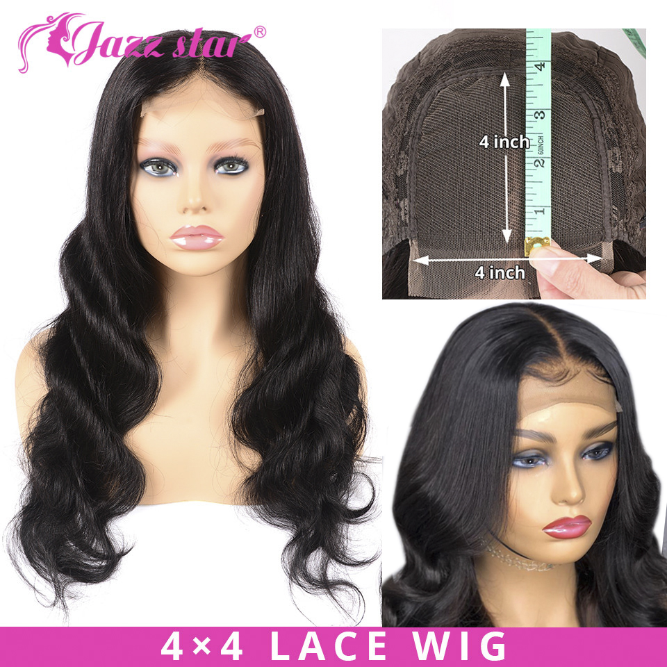 Brazilian 4x4 Lace Closure Wig Body Wave Wig Human Hair Wigs Pre-Plucked With Baby Hair Non Remy Jazz Star Hair 150% Density