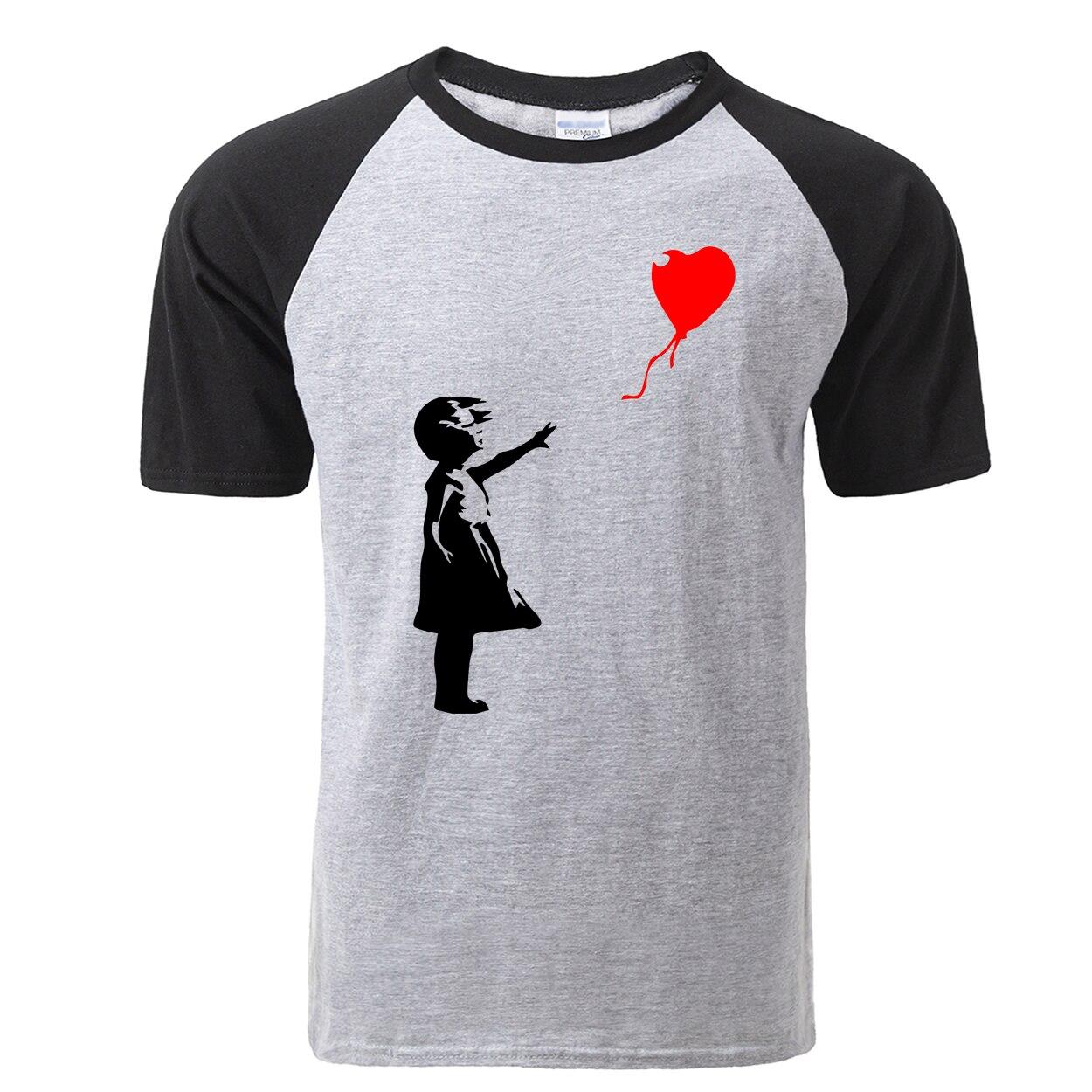 Fashion Banksy T Shirts Men 2019  Funny Float Balloon Girl T-Shirt Casual Cotton Men Short Sleeve Tshirt Soft Raglan Tops Tees