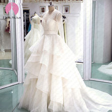 Robe De Mariee Scoop Long Sleeves Tiered Ball Gown Wedding Dress 2019 Custom Made Lace Up Wedding Gowns Cheap Vestido De Noiva(China)