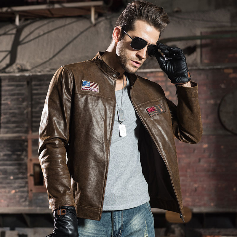 Genuine Spring Autumn Vintage Motorcycle Leather Jacket Men Plus Size Chaqueta Cuero Hombre FM2015-60 YY880