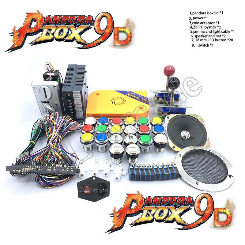 Pandora box 9D 2500 in 1 arcade diy arcade kit 12V power box + speaker +  multi-currency coin acceptor + arcade LED button