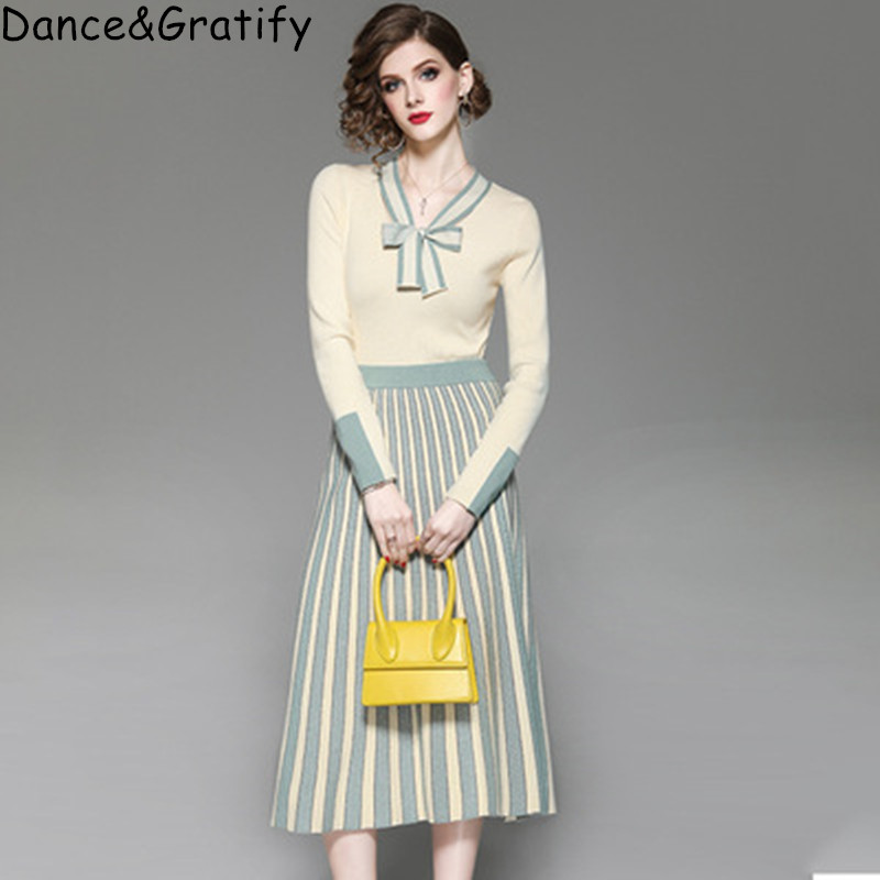 Women Fashion Pleated Long Midi Skirt Knitted Autumn Winter Suit Bowtie Pullovers Two Piece Set New 2019