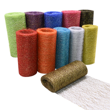 10Yards 15cm Sequin Tulle Roll Polyester Fabric Glitter for Wedding Birthday Party Baby Shower Decoration