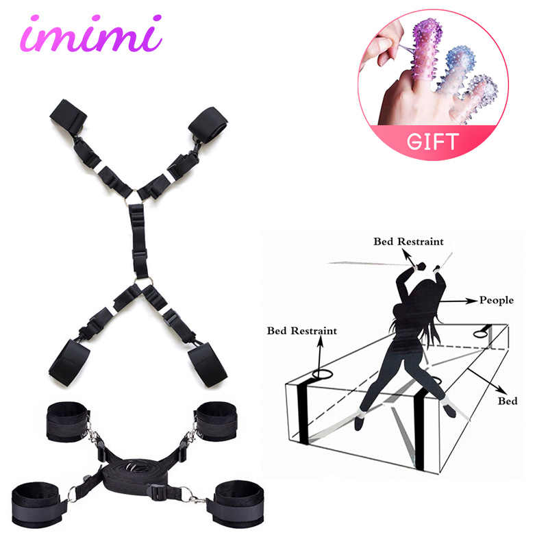 Intimate Sex Furniture Bondage Harness Bed On System  Pu Fetish SM Femdom Toy Erotic Bdsm Handcuffs Tied Rope For Men And Women