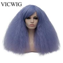 VICWIG Short kinky Curly Hair Synthetic Wig for Women African Dark Brown Black Red Green Pink Purple White  Cosplay Wigs miss peregrine s home for peculiar children miss perry green cosplay wig eva green black short curly hair wigs