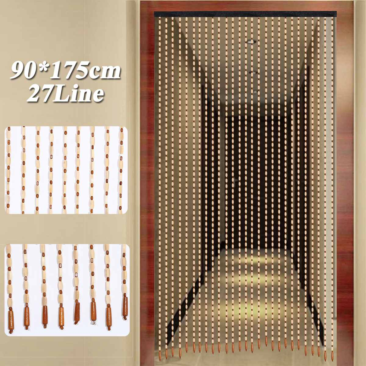 90x175cm 27 Line Wooden Beads Curtain Fly Screen Handmade String Beans Blinds For Door Entrance Living Room Window Gate Divider