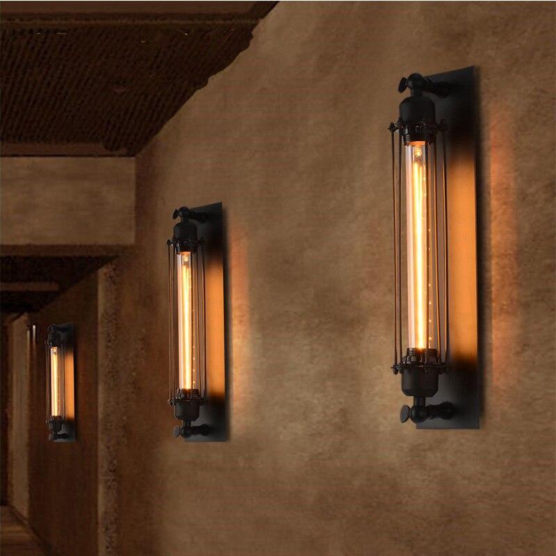 Lámpara de pared Industrial vintage con sujetador, lámparas de hierro para loft, lámparas para dormitorio, pasillo, bar, almacén