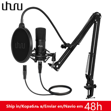 UHURU XLR Condenser Microphone Professional Studio Cardioid Mikrofon Kit Podcast Streaming Mic for Broadcast YouTube Recording high performance miniature condenser vertical microphone super cardioid mic set for choir group chorus studio stage 1 7m height