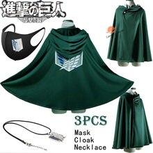 Ataque em titan levi ackerman cosplay verde preto capa com capuz capa traje adereços colar a legião scouting asas da liberdade