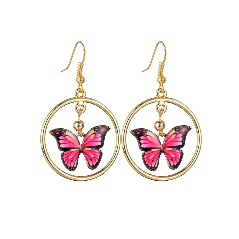 Korean Fashion New 2020 Lovely Butterfly Stainless Steel Earrings for Women Hoop Gold Plated Earrings Wholesale