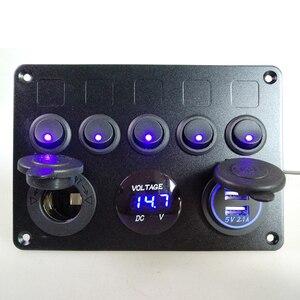 Image 5 - インラインヒューズボックス 5 ギャングブルー led ロッカースイッチパネル電圧計デュアル usb 充電ソケット 12 v 24 12v 車ヨット船カーボートマリン