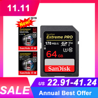 Original New Sandisk 64GB 128GB SDXC Flash Memory Card 170MB/S carte sd for Professional Canon Nikon Sony Digital Camera SD Card