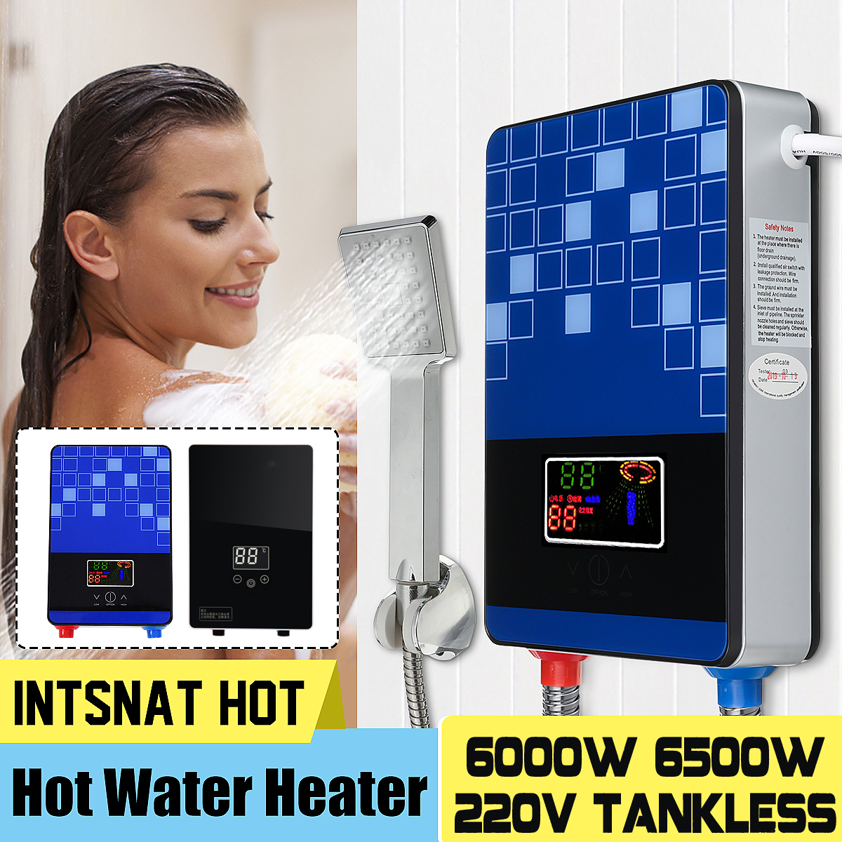 Warmtoo 6000W/6500W 220V IPX4 LED Display Electric Instant Water Heater Tankless Instantaneous Water Heating Fast Heat W/ Pipe