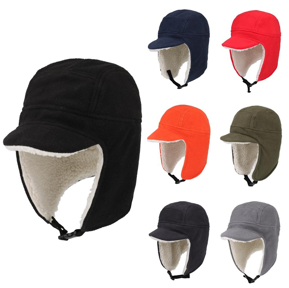 Connectyle Men's Women Soft Fleece Warm Winter Hats Sherpa Lined With Visor Windproof Earflap Snow Ski Skull Cap