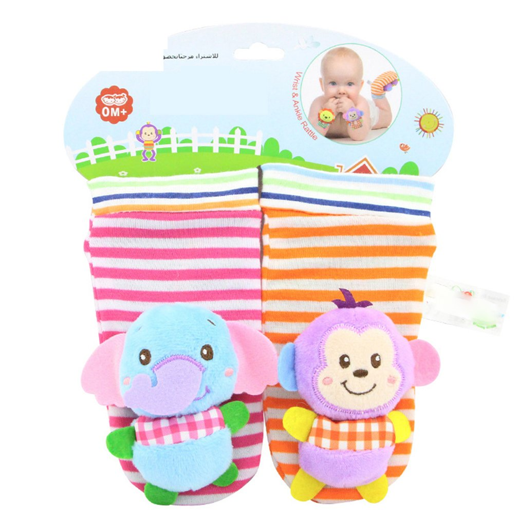 Baby Rattle Toys Soft Wrist Foot Socks Cute Cartoon Garden Bug Plush Rattle With Ring Bell Educational Toys For 0+ Baby Toys