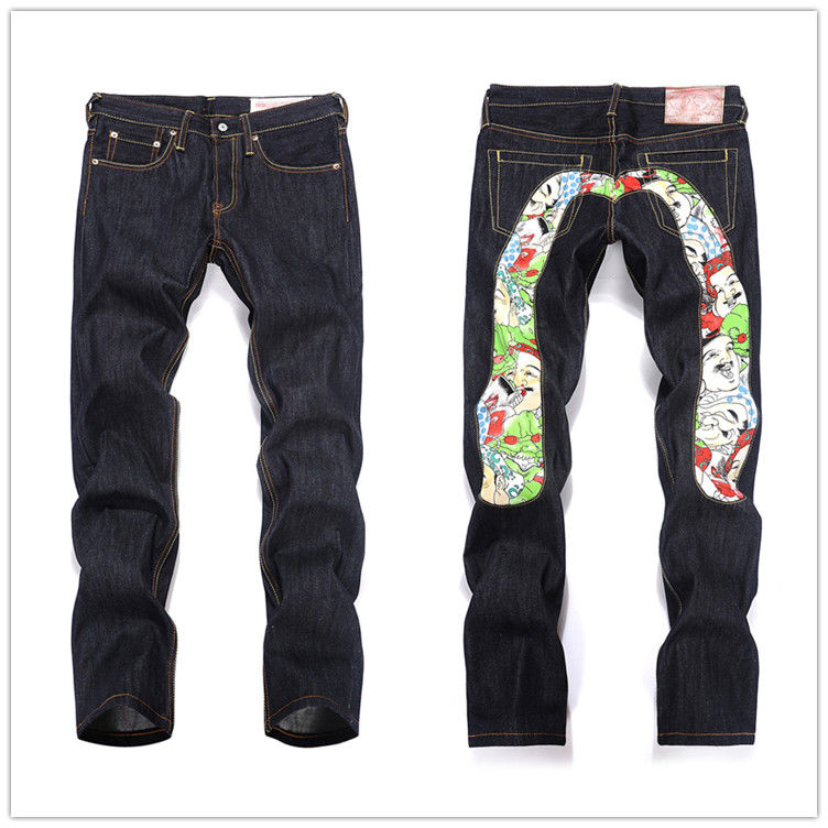 Authentic Evisu Breathable Top Quality Trend Fashion Men Pants Jeans Straight Print Leisure Printing Mid Waist Men's Trousers