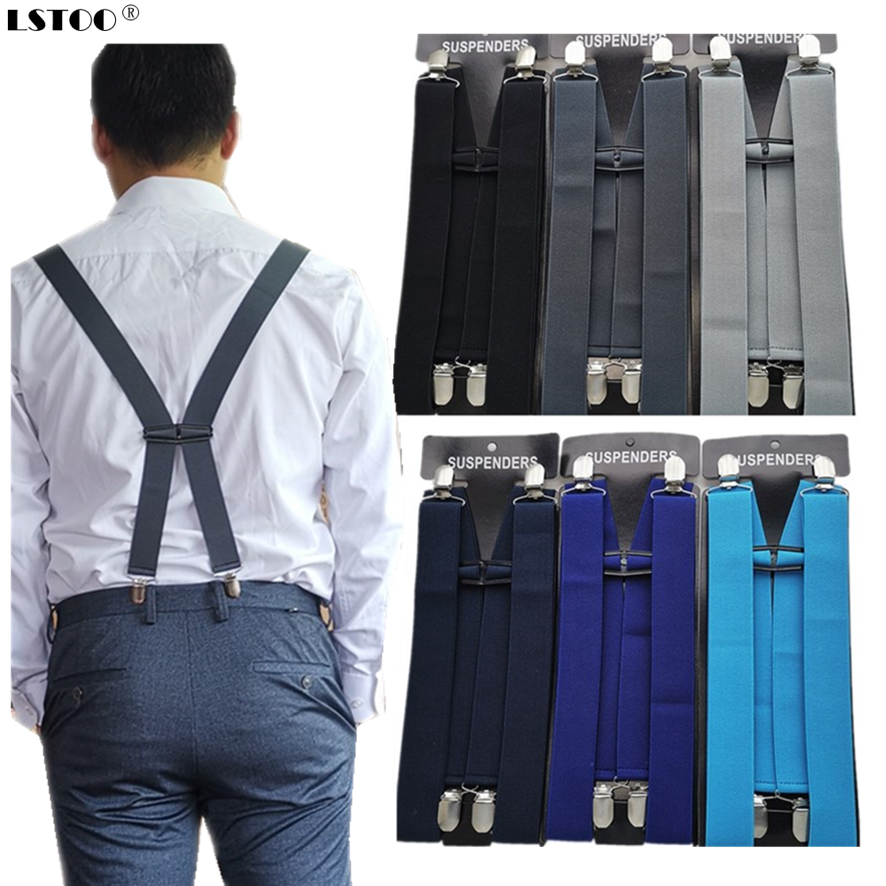 2019 New Design Solid Color Unisex Adult Suspenders Men 3 Plus Size Women Suspender Adjustable Elastic H-Back Kids Braces