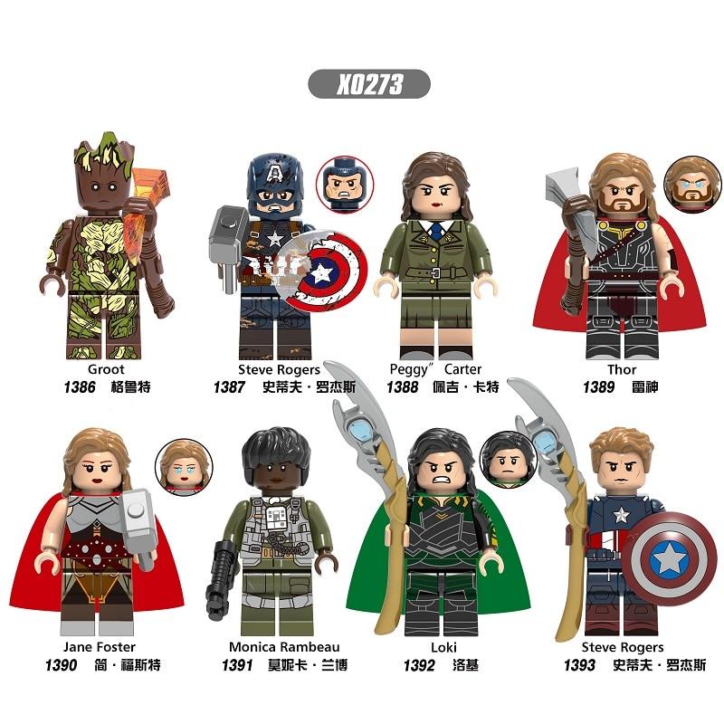Single Sale Building Blocks Bricks Super Heroes Tree Man Thor Steve Rogers Jane Foster Loki Figures For Kids Gift Toys X0273