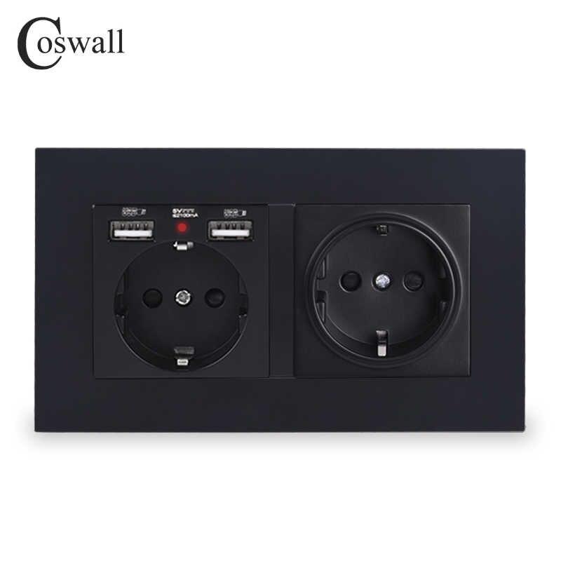 COSWALL 2 갱 러시아 스페인 EU 표준 벽 소켓 2 USB 충전 포트 숨겨진 소프트 LED 표시기 PC 패널 블랙 화이트 그레이