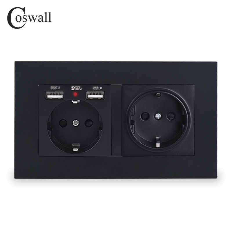Coswol, 2 grupos, enchufe de pared estándar de la UE de Rusia, España con 2 puertos de carga USB, Panel de PC con indicador LED suave oculto, negro, blanco y gris