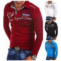 ZOGAA Polo camisas Hombre otoño moda Polo de manga larga Casual estampado Delgado camisa Polos Para Hombre 4XL Para Hombre Polos