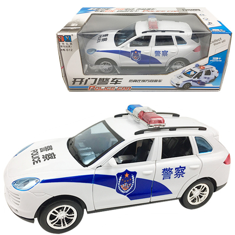 Electric Car Men And Women Baby Police Car Children CHILDREN'S Music Toy Electric Door Opening With Music Light Universal
