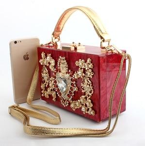 Image 5 - Luxury Acrylic Box Evening Clutch Bags Women Pearl Diamonds Heart shaped Stone Pattern Purses Handbag Ladies Shoulder Bag Dinner