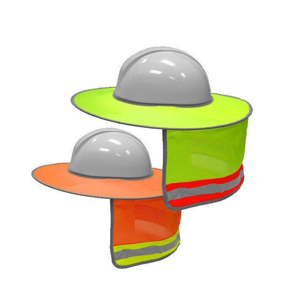 Sunshade Outdoor Construction Safety Hard Hat Sun Shade Neck Shield Reflective Stripe Protective Helmets Shield