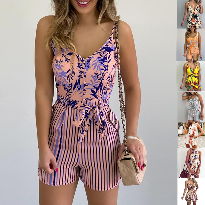 Women Summer Print Jumpsuit With Belt Sleeveless Beach Rompers Bodycon Slim Strap Bodysuit Wide Leg Overalls Playsuit Clothing